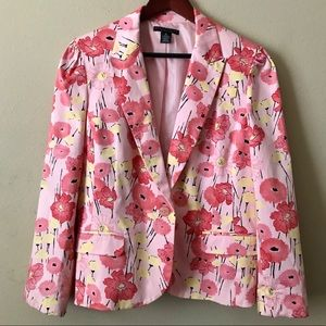 APOSTROPHE Stretch Pink Floral Blazer Size 18